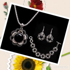 Necklace, earrings & bracelet New, 3 piece set. Antiqued silver and black resin stone. Costume. Jewelry