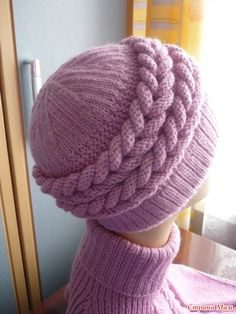 Cap with braids and dickey. Crochet Girls Dress Pattern, Baby Cardigan Knitting Pattern Free, Crochet Socks Pattern, Crochet Mittens, Baby Hats Knitting, Loom Knitting, Knitted Hats, Knitting Patterns, Crochet Hats