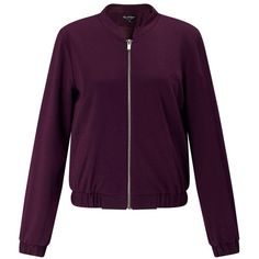 Miss Selfridge Burgundy Bomber Jacket (€22) ❤ liked on Polyvore featuring outerwear, jackets, burgundy, blouson jacket, miss selfridge, zip jacket, bomber jacket and zip bomber jacket