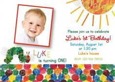 The Very Hungry Caterpillar Eric Carle Birthday Party Invitations