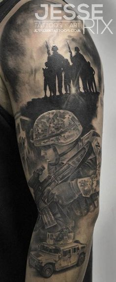 Military Arm Tattoo http://www.pairodicetattoos.com/military-arm-tattoo/