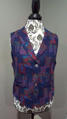Pendleton Knockabout Native American Vest Wool Blue Red Women's Large Size 12 #Pendleton