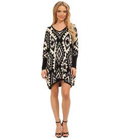 Brigitte Bailey Brigitte Bailey  Tiffany Oversized Aztek Sweater Dress BlackBeige Womens Sweater for 39.99 at Im in!