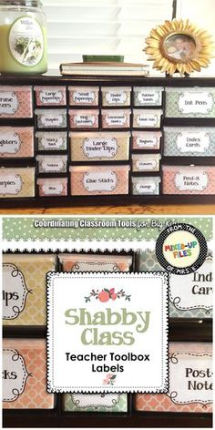This is the best teacher toolbox organizer to keep your desk and shabby chic classroom looking cute! Pretty pastel labels are sized to use with Lowe's 22-drawer plastic storage cabinet and include over 50 predesigned toolbox labels for common classroom teacher supplies, plus an editable template so you can add your own favorite items. It's so easy to use--I was able to finish my DIY classroom organization project in about an hour!
