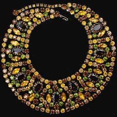 Schreiner (unsigned) Citrine Topaz and Peridot Gems Collar Necklace