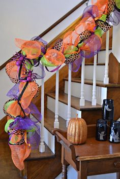 Halloween garland on stair rail