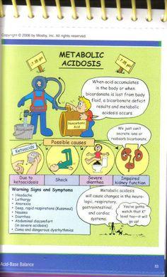 metabolic acidosis Nursing Study Tips, Metabolic Acidosis, Metabolic Disturbances, Acidosis And Alkalosis, Nursing Information, Rn School, Medical School, Nursing Mnemonics, Nursing Assessment