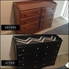 Our 26 year old refurbished dresser! >>There's an old dresser at my dad's. Could work for baby room