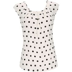 Petite Cream And Black Polka Dot Top ($49) ❤ liked on Polyvore