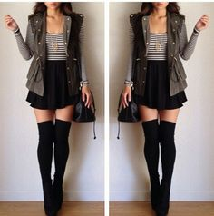 long sleeve crop top, over skater dress with vest knee highs booties- the need is real