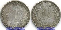 1887 Morgan Silver Dollar Legends: Obverse: E·PLURIBUS·UNUM, 1887, Reverse: UNITED STATES OF AMERICA, ONE DOLLAR, In God we trust