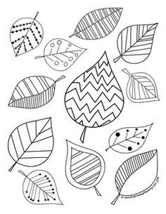 Fall Coloring Activity: Leaf Coloring Pages & Painting Ideas Leaf Drawing, Nature Drawing, Leaf Coloring Page, Coloring Pages, Color Activities, Autumn Activities, Doodle Drawings, Doodle Art, Arte Elemental