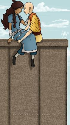 Aang and Katara from Avatar: The Last Airbender. Line art and all by me. Aang and Katara Avatar Fan Art, Avatar Cartoon, Marriage Romance, Avatar The Last Airbender Art, Happy Tree Friends, Legend Of Korra, Cool Cartoons, The Incredibles, Deviantart
