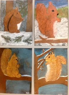 Oravat pölypastelliliiduilla School Projects, Projects For Kids, Art Projects, Squirrel Art, Winter Day, Art Classroom, Art Plastique, Art For Kids, Cold