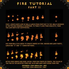 Fire animation tutorial Official Post from Brullov: Finally, managed to create this tutorial. It's really hard to explain things which you know how to draw [. Animation Pixel, Fire Animation, Animation Reference, Animation Storyboard, Game Design, Design Art, How To Pixel Art, 2d Game Art, 8bit Art