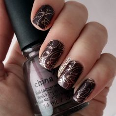 Lina nail stamping plate: Make Your Mark 02 China Glaze polish: No Peeking! Stamped with Essie: Penny Talk