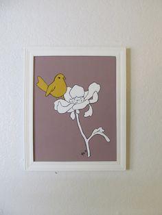 Bird Painting Art Print Bird  in bloom Modern Urban by mdcreated, $12.00