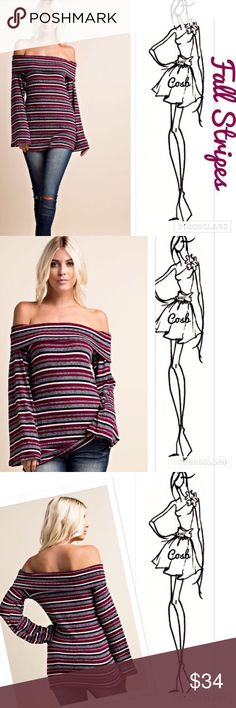 Wine Off the Shoulders Stripe Top Cute Wine color Off the Shoulders Top. Top has long flare sleeves, wine, gray, black & white stripes, & layered off the shoulders. Top is rib knit w/stretch. ✨ Price firm unless bundled Cosb Tops