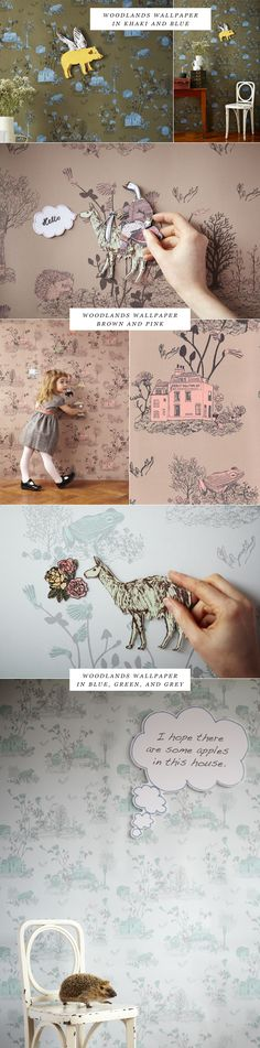 Wallpaper from Sian Zeng and Wallpaper Magnets for kids. These are so super cute! Want some!