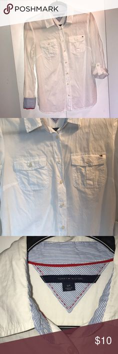 Tommy Hilfiger Shirt Small, white long sleeve/roll up Tommy Hilfiger shirt. Hardly worn. Super cute lined cuff. Only a little wrinkled from NOT being worn and hung in my closet! Tommy Hilfiger Tops Button Down Shirts