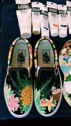 VSCO Tropical Smoothie Vans // painted by me Custom Vans Shoes, Custom Painted Shoes, Painted Vans, Painted Canvas Shoes, Painted Clothes, Hand Painted Shoes, Cute Vans, Tenis Vans, Aesthetic Shoes