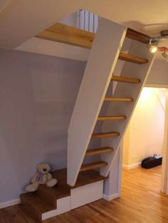 Space Saving Staircase, Attic Staircase, Loft Stairs, House Stairs, Tiny House Loft, Tiny House Design, Attic Renovation, Attic Remodel, Foyer Design