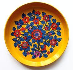 70er Jahre Tablett Metall, flower-power England Pat Albeck Design