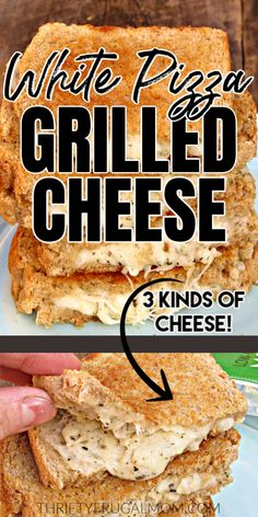 The best grilled cheese sandwich recipe ever! Loaded with 3 different kinds of cheese, garlic and herbs, it's the perfect comfort food. Best Grilled Cheese Sandwich Recipe, Best Sandwich Recipes, Delicious Sandwiches, Quesadilla Recipes, Easy Homemade Recipes, Easy Dinner Recipes, Delicious Recipes, Lunch Recipes, Dinner Ideas