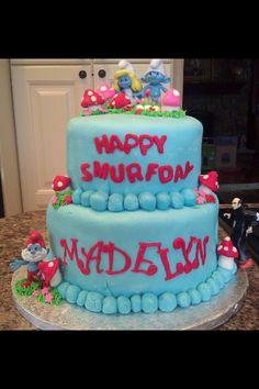 Smurf cake for Anna & Sam