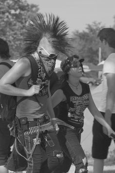 two punks, mohawk, pocket knife, bullet belt