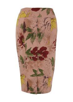 Floral Ponte Pencil Skirt
