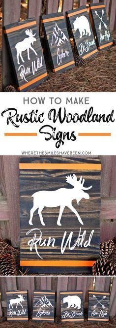How to Make Rustic Woodland Signs DIY Wood Signs Rustic Signs Woodland Diy Wood Projects, Wood Crafts, Woodworking Projects, Projects To Try, Woodworking Plans, Woodworking Furniture, Decor Crafts, Cabin Crafts, Diy Projects For Men