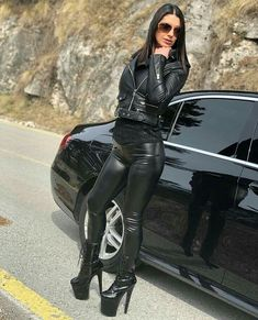 "Lederlady ❤ ""Do you like my sexy boots Mark Shavick darling? Pvc Leggings, Vinyl Leggings, Wet Look Leggings, Leggings Are Not Pants, Womens Gothic Boots, Latex Pants, Leder Outfits, Herren Outfit, Leather Fashion"