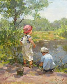Fishing - Vladimir Gusev - Sale of paintings and other art works Paintings I Love, Beautiful Paintings, Fine Art, Portrait Art, Portraits, Art Oil, Painting Inspiration, Art Pictures, Painting & Drawing