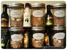 christmas presents DIY Adult Hot Chocolate Kits. PERFECT Christmas present for next year! Adult Christmas Party, Diy Christmas Presents, Homemade Christmas Gifts, Homemade Gifts, Holiday Fun, Holiday Gifts, Christmas Holidays, Christmas Baskets, Diy Food Gifts