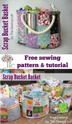 This easy to make bucket pattern is perfect for storing all your scrap bits and so much more! Make it from scraps then use it to store more scraps! Kids love them too for their toys. The Sewing Loft: