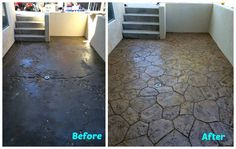 How to install beautiful stamped concrete tiles for the look of stamped concrete for a fraction of the cost! Concrete Pavers, Concrete Floors, Cement, Diy Stamped Concrete, Acid Stained Concrete, Diy Home Improvement, Pool Designs, Building A House, Building Ideas