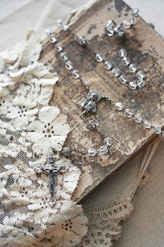 journal inspiration. book. lace, rosary