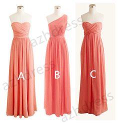 Coral Bridesmaid, Sweetheart Long Chiffon Bridesmaid Dresses