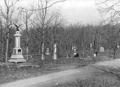 Monuments to Union regiments aligned on Slocum Avenue, Culp's Hill.