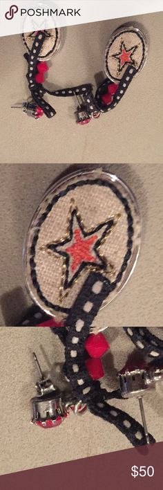 Earrings Texas star Tarina tarintino Texas collection earrings with red rhinestone stud Tarina Tarantino Jewelry Earrings