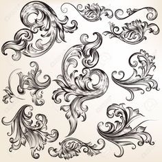 43320453-Collection-of-vector-calligraphic-flourishes-and-swirls-Stock-Vector.jpg (1300×1300)