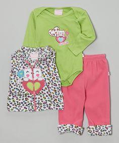 Loving this Duck Duck Goose Green & Pink Leopard Three-Piece Bodysuit Set - Infant on #zulily! #zulilyfinds