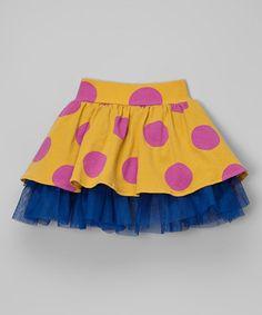Loving this Gold & Navy Puffy Polka Dot Skirt - Infant, Toddler & Girls on #zulily! #zulilyfinds