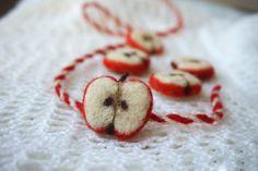 Ръчно изработена мартеница, носеща традиционен символ на плодородието, любовта и семейството, а именно – ябълката. Очарователен  подарък за най-близките ви хора, който може да се съчетае с ежедневното облекло, както и да внесе закачлив елемент в работния стил.  Материал: вълна Размер:  3 х 2 см Автор: Велиана Иванова Baba Marta, Felt Embroidery, Needle Felting, Holiday, Crafts, Vacations, Manualidades, Holidays, Handmade Crafts
