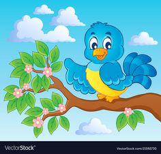 Illustration about Bird theme image - vector illustration. Illustration of animal, birdie, draw - 29120690 Tree Drawing For Kids, Bird Theme, Kids Artwork, Vector Free, Clip Art, Cartoon, Wall Art, Drawings, Drawing Classes