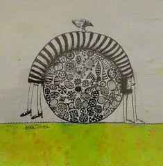 - Photo de A Ink drawings in colors 2019 - - Elke Trittel Art Zentangle Drawings, Bunny Art, Mixed Media Painting, Outsider Art, Colorful Drawings, Artsy Fartsy, Folk Art, Whimsical, Illustration Art