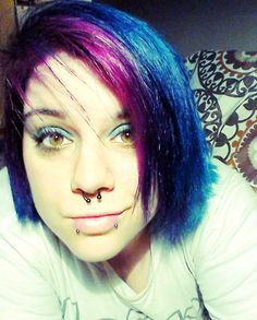 Splat Berry Blast bangs and Aqua Rush hair #septumring #pinkhair #bluehair