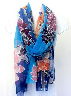 Hand Painted Silk Scarf Floral Silk Scarves