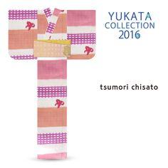 2016 Summer tsumori chisato Yukata Pink Checker Pattern Ribbon